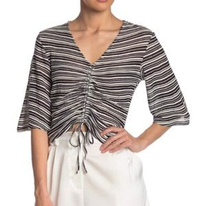 Niki Front Ruched Stripe Knit Top: black & white